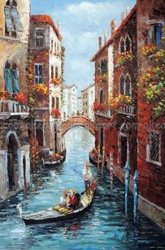 Romantic Tour Through The Canals Of Venice~ Venice Painting, Italy Painting, Watercolor Landscape, Landscape Paintings, Watercolor Art, American Gothic Painting, Art Carte, Abstract City, Art Abstrait