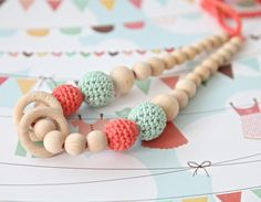 Check out our necklaces selection for the very best in unique or custom, handmade pieces from our shops. Mommy Necklace, Nursing Necklace, Teething Necklace, Crochet For Kids, Crochet Toys, Crochet Baby, Knit Crochet, Newborn Baby Gifts, Baby Girl Gifts