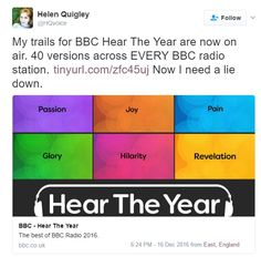 """16 Dec 2016: BBC Trail """"Hear The Year"""" on air across every BBC Radio Station! http://www.bbc.co.uk/programmes/p04b1166"""