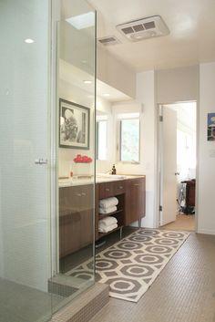 Um, yes, all the things. Love the floor tiles, glass shower, wood vanity, open shelving.