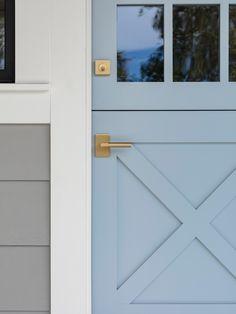 Home Renovation Front Door Powder Blue Dutch Door with Brass Knobs. Front Door Paint Colors, Painted Front Doors, Front Door Design, Glass Front Door, Garage Door Styles, Garage Doors, Decoration Chic, Garage Door Makeover, Blue Shutters