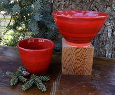 Updated  Brilliant Red Ceramic Bowl & Cup Set by WildwoodCeramics