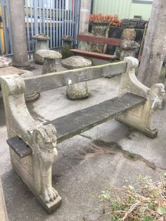 Composite stone and wood bench #garden statuary
