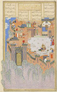 Esfandiyar slays Arjasp in the Brazen Hold Ferdowsi, Shahnameh Timurid: Herat, c.1444  Patron: Mohammad Juki b. Shah Rokh Opaque watercolour, ink and gold on paper London, Royal Asiatic Society, Persian MS 239, fol. 278r