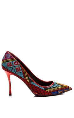 Mexican Blue Needle Point Pump by Nicholas Kirkwood for Preorder on Moda Operandi