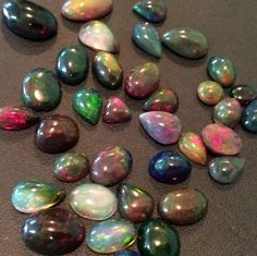 Colourful sparkled Black Opal Smooth Flat Back cabochons- A lovely fire, range of colours to sparkle your jewellery! A mix lot of shapes only on gemsforjewels