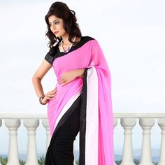 Pink and Black Faux Georgette Saree with Blouse