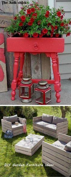 New antique garden furniture ideas Ideas Industrial Outdoor Furniture, Vintage Outdoor Furniture, Pallet Patio Furniture, Diy Garden Furniture, Furniture Decor, Furniture Removal, Ikea Outdoor, Outdoor Decor, Diy Old Furniture Makeover