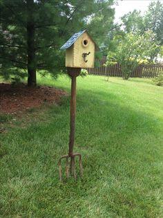 Rustic Cedar Birdhouse on a Antique Pitchfork
