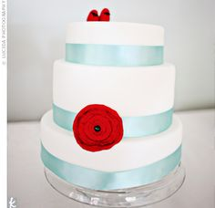 Amber made a faux wedding cake to display at the reception. (Guests ate slices of sheet cake, which had been hidden away in the kitchen.) To make the cake, she bought round foam cake tiers online and covered them in fondant and then decorating with aqua s...