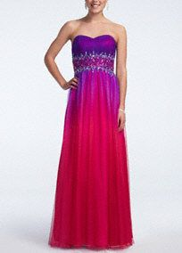 Make a striking statement in this fun and flirty prom dress!  Strapless bodice features eye-catching beaded midriff.  Charmeuse ombre fabric is vibrant and fashion forward.  Fully lined. Back zip. Imported polyester. Professional spot clean only. Cool iron when needed, no steam. Also available in Plus sizes as Style 54175W.