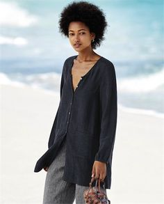 Poetry - Long shirt - In a new Poetry fabric with its natural texture and matt finish, this longer length shirt finishes just above the knee. An easy, drapey cut with a seamed waistline and smock-style patch pockets, the full length placket and blousy sleeves are trimmed with mother-of-pearl buttons. 32% silk 38% hemp 30% cotton