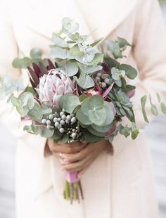 wedding florals - succulents, protea, eucalipts