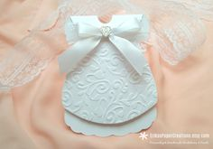 White Little Dress Embossed Baptism Lace & Bow Handmade Personalized Invitation, A7 Envelope Included, Made to Order by ErikasPaperCreations on Etsy