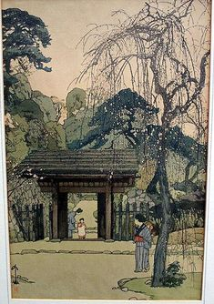 1st Edition Yoshida Hiroshi oban woodblock print titled ''Plum Gateway,'' c.1935 Showa Year 10. Listed in ''The Complete Woodblock Prints of Yoshida Hiroshi,''