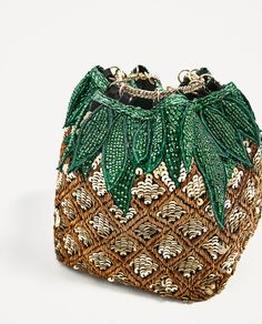 Image 5 Of Pineapple Bucket Bag With Beads From Zara Potli Bags, Patchwork Bags, Beaded Bags, Knitted Bags, Luxury Bags, Clutch Bag, Crossbody Bags, Evening Bags, Fashion Bags