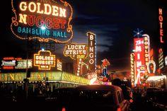 Golden Nugget sign and Fremont Street, Las Vegas, 1960 Vegas Casino, Casino Night, Atlantic City Casino, Vintage Neon Signs, Fremont Street, Golden Nugget, Vegas Shows, Tumblr, Casino Theme Parties