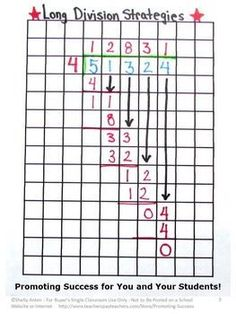 Free Long Division:  Graph paper is an essential strategy for teaching beginning long division to students.  4th 5th 6th Grade Common Core Math