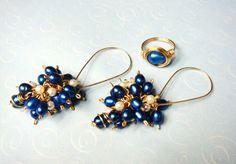 Cobalt Blue Pearl 14K Gold Wire Wrap Earrings