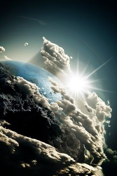 Earth. Almighty God holds this creation in place and causes the winds to blow the clouds over the earth.