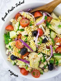 This easy Greek pasta salad is the perfect picnic recipe! It's also one of my favorite grilling sides. Find more vegan recipes at veganheaven.org. #vegan #pastasalad #summerrecipes #BBQ