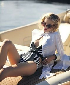 NAUTICAL FASHION Bikinis, Swimsuits, Swimwear, Dona Karan, Lady, Hot Lingerie, Nautical Fashion, Beach Wear, Bathing Beauties