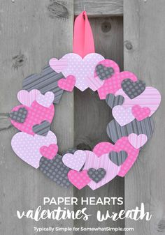 Grab a few basic supplies from your craft stash to make this cute scrapbook paper heart wreath for Valentine's Day! We aren't too big into celebrating Valentine's Day, but I still enjoy decorating a little Diy Valentines Day Wreath, Valentine Crafts For Kids, Mothers Day Crafts, Valentines Day Decorations, Funny Valentine, Kids Crafts, Holiday Crafts, Holiday Wreaths, Crafts For Seniors