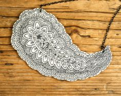 Black and White Paisley Shrink Plastic Necklace