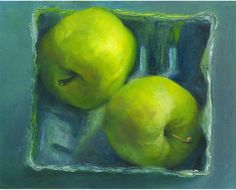 Ginger Gold art print of oil painting / still life painting of bright green apples / kitchen or dining room decor / Wall Art / gift for mom