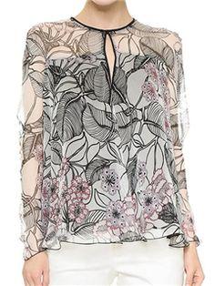 ericdress impreso suelta blusa de flores                                                                                                                                                                                 Más