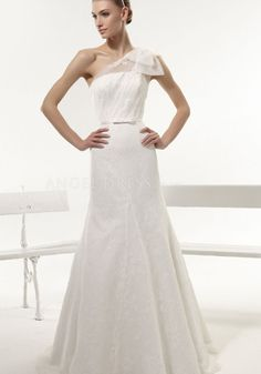 Floor Length Sleeveless Lace & Tulle Mermaid One Shoulder Natural Waist Wedding Dress