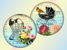 Whimsical vintage 25 inch circles digital collage by KarisaGraphic