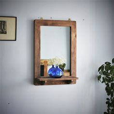 large wall mirror with shelf, natural wood mirror, dark wood tall candle shelf, hall mirror, custom handmade modern rustic style Somerset UK Rustic Design, Rustic Style, Modern Rustic, Wall Mirror With Shelf, Wood Mirror, Hall Mirrors, Framed Mirrors, Rustic Wooden Shelves, Sustainable Furniture