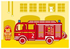 Kinderzimmerbild Feuerwehr A4 von JungsundSoehne auf Etsy