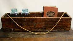 vintage rope handle tool box