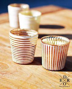 """Teelichthalter 4er Set """"Cancun"""" Teelichthalter & Windlicht Set – aus Glas gefertigt – Weiß / Gold im Vintage look. Cancun, Home And Living, Vintage, Hang In There, Glass, Ideas, Primitive"""