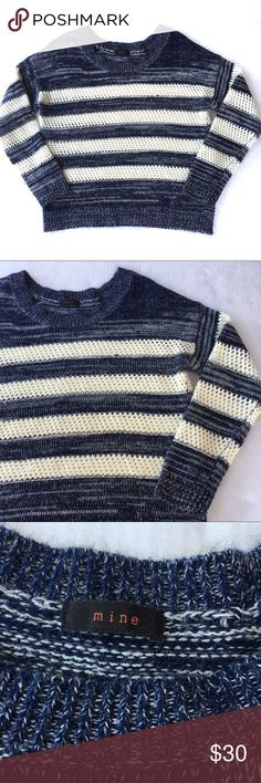 Buckle Mine blue and white striped knit sweater Mine form Buckle knit sweater. Blue and white striped. White part is loose knit. Buckle Tops