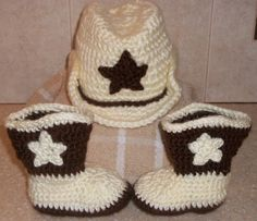 Items similar to Cowboy Hat and Boots on Etsy Crochet Baby Shoes, Knit Crochet, Cowboy Crochet, Baby Boots, Baby Ideas, Cowboy Hats, Winter Hats, Crochet Patterns, Slippers
