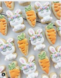 Looking for the Best Easter Cookies Ideas? Here are the best Easter Sugar Cookies decoration with royal icing ideas, you'd love to try out now. Cookies Cupcake, Carrot Cookies, Iced Cookies, Cute Cookies, Easter Cookies, Holiday Cookies, Sugar Cookies, Easter Cake, Cookie Favors