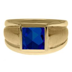 Yellow Gold Men's Square Sapphire Ring