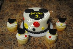 This is a Mickey Mouse Themed 1st Birthday Smash Cake and Cupcakes with Mickey Mouse Cupcake Toppers I made. Topper Set for sale in my etsy shop. www.kristinscusto...