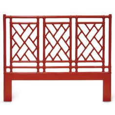 """Palecek's Pavilion Queen headboard lends Asian-inspired flair to modern spaces. Constructed of a leather-bound pole rattan frame, this accent features a geometric openwork design for elegant allure. Shown in red; Many finish options available; Pre-drilled holes and hardware to fit metal queen mattress frame; Bed frame is not included; Wipe down with soft, dry cloth to clean; 64""""W x 1.5""""D x 52""""H"""