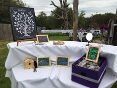 Chalkboard Wedding Tree | Guest Book Alternative | Rustic Wedding | Customer Photo | Wedding Colors - Black & Purple | peachwik.com
