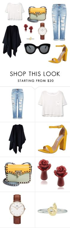 """""""Afternoon II"""" by marty-corio ❤ liked on Polyvore featuring Genetic Denim, MANGO, Acne Studios, Steve Madden, Valentino, Daniel Wellington, Rock 'N Rose and CÉLINE"""