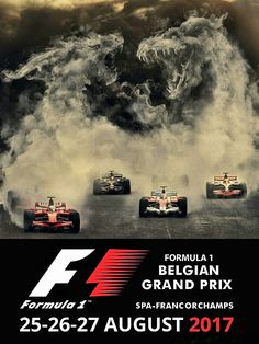 2017 Belgian Grand Prix poster. Nico Rosberg took the win for Mercedes in the 2016 race at Spa, followed by Red Bull's Max Verstappen in P2, while the Ferrari's of Kimi Raikkonen and Sebastian Vettel finished P3 and P4 respectively. Ferrari is aggressively taking the fight to Mercedes in 2017, and would like nothing better than to repeat their 2017 Hungarian GP one-two finish in Belgium. #F1 #Formula1 #BelgianGP #SpaFrancorchamps #Affiche
