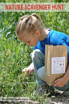 Nature Scavenger Hunt printable is a great way to keep the kids busy this summer. Forget the DIY and crafts go out and enjoy nature! fivelittlechefs.com