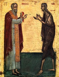 A New Icon of St. Mary of Egypt and St. Zosimas: Notes on Form & Symbolism – Orthodox Arts Journal Byzantine Art, Byzantine Icons, St Mary Of Egypt, Santa Maria, Medieval Paintings, Best Icons, Religious Icons, Catholic Saints, Orthodox Icons