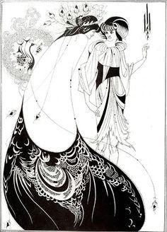Fashion art Nouveau - The Peacock Skirt Beardsley (England) 1894 Oscar Wilde, Belle Epoque, Edgar Poe, Laurent Durieux, Peacock Skirt, Illustrations Techniques, Ink Illustrations, Brighton, Illustration Art Nouveau