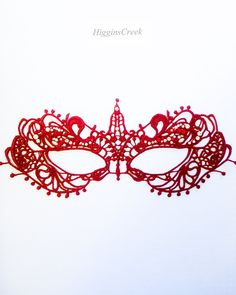 Red Lace Mask with shimmer, ruby and diamonds, Venetian Masquerade mask for women by HigginsCreek on Etsy