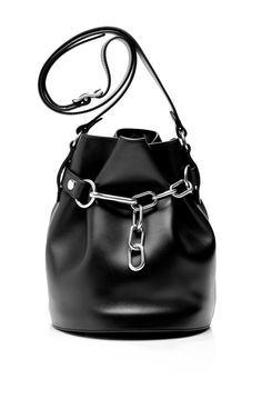 Shiny Black Calf Alpha Soft Bucket Bag by Alexander Wang for Preorder on Moda Operandi Summer Purses, Summer Handbags, Summer Bags, My Bags, Purses And Bags, Beautiful Bags, Alexander Wang, Leather Bag, Brown Leather